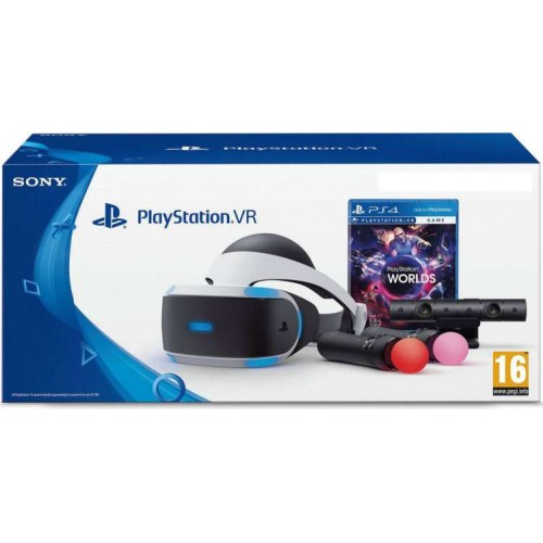 Playstation VR + PlayStation Camera V2 + Move Controller Twin Pack + PlayStation VR Worlds