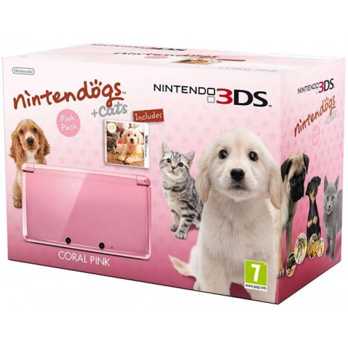 Nintendo 3DS Coral Pink + Nintendogs + Cats