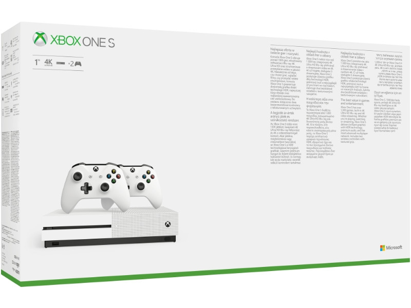 Microsoft Xbox One S 1TB 2db Xbox One Wireless Controllerel White