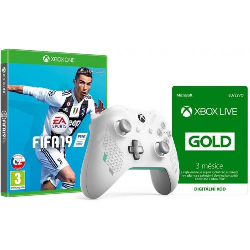 Xbox One Wireless Controller Sport White + FIFA 19 + 3 hónap LIVE Gold