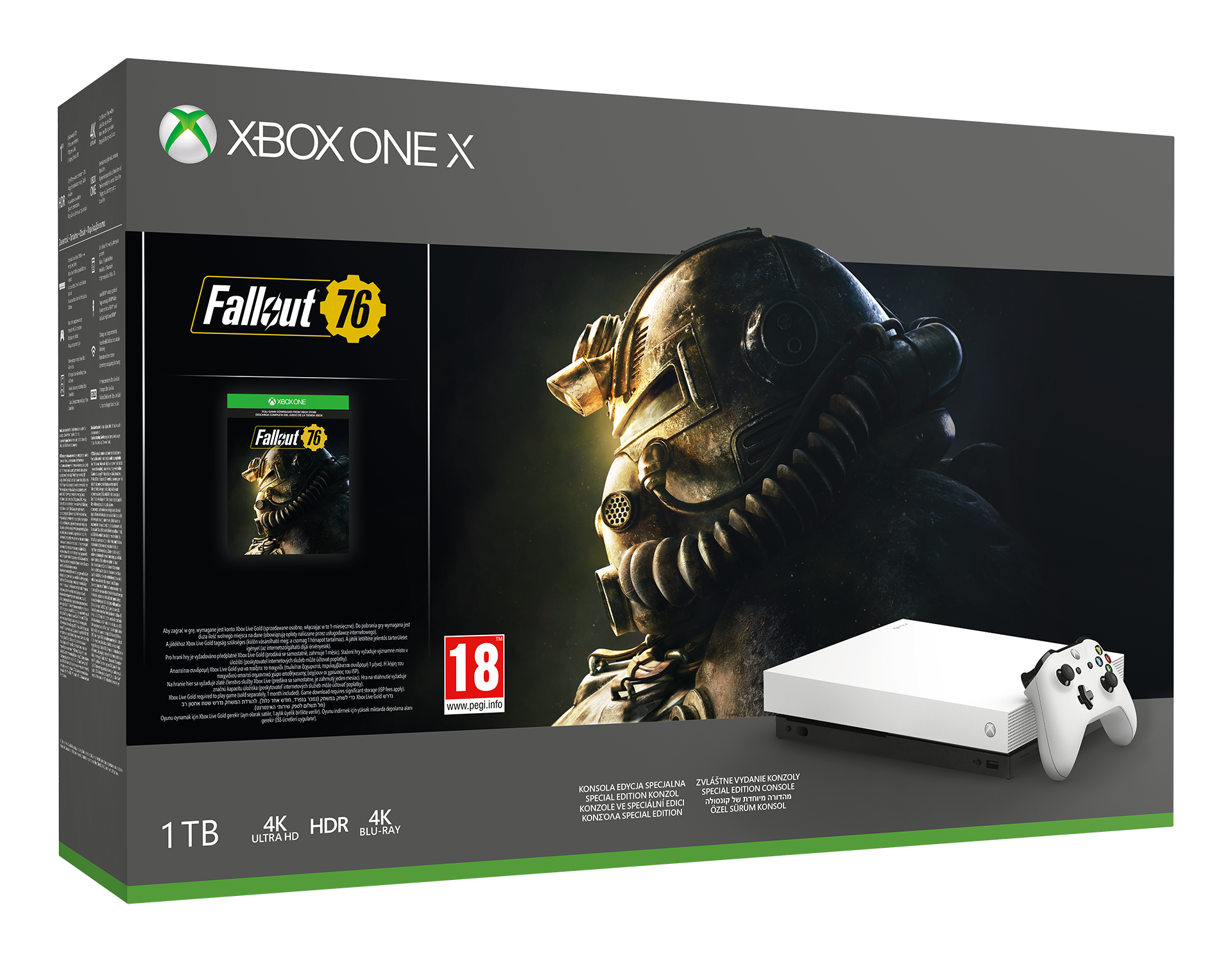 Xbox One X 1 TB Robot White Special Edition + Fallout 76+Gears of War 4 Bundle