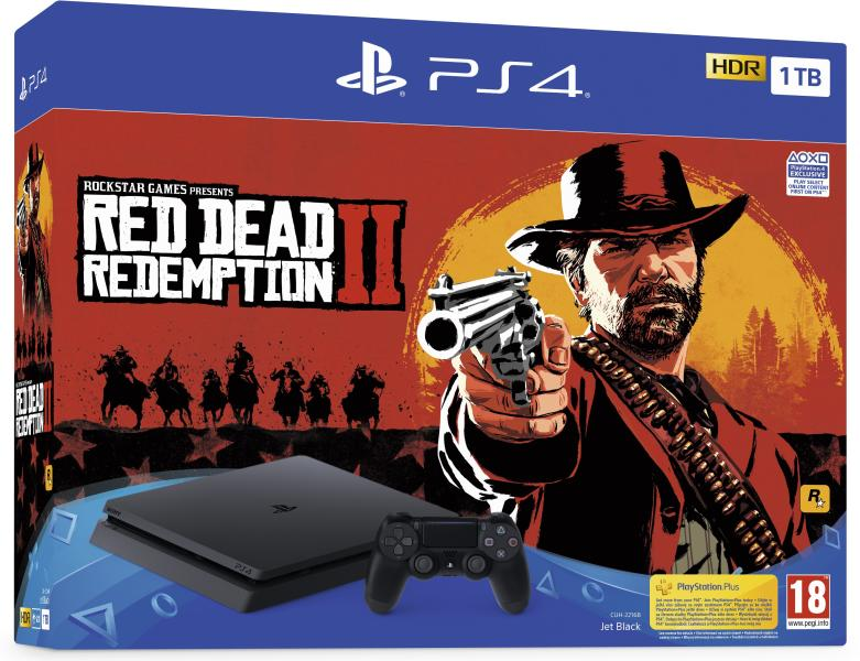 PlayStation 4 Slim 1TB Red Dead Redemption 2 Bundle