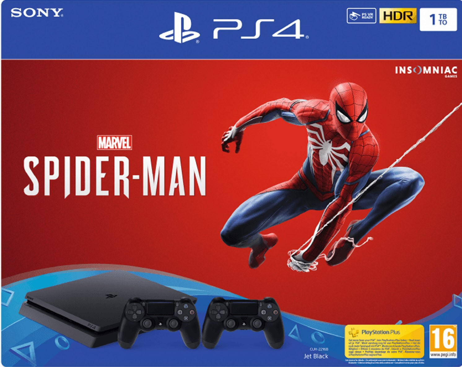 PlayStation 4 Slim 1 TB + 1db DualShock 4 kontroller + Spider Man