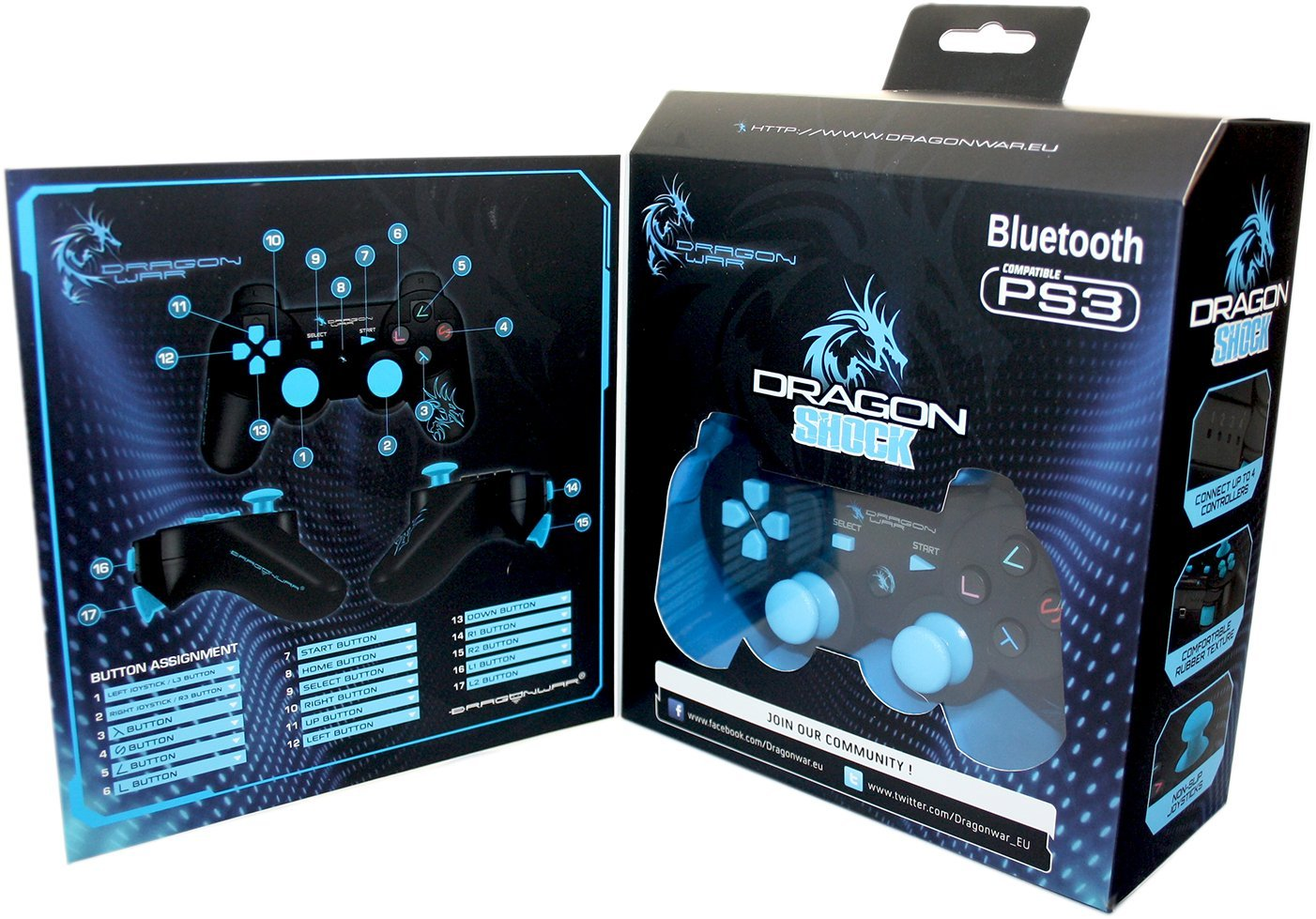 Dragon Shock Bluetooth PS3 Controller Black