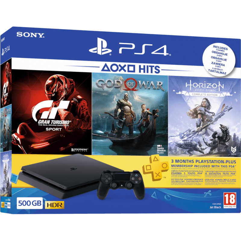 PLAYSTATION 4 Slim 500 GB + Gran Turismo Sport + God of War + Horizon Zero Dawn Complete edition + 3hó Ps plus