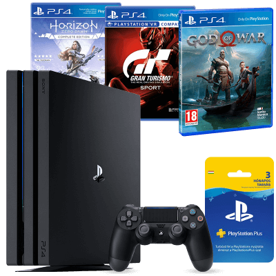 Playstation 4 Pro 1TB +3 Hónapos Ps Plus + Gran Turismo Sport+ God of War+ Horizon Zero Dawn Complete Edition